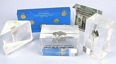 Vintage Lucite Advertising Paperweights Five Miniature Product Replicas Inside