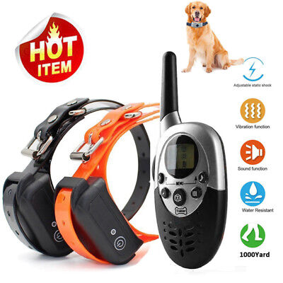 1000 Yard Rechargeable Remote Dog Pet Training Shock Collar Anti Bark Waterproof
