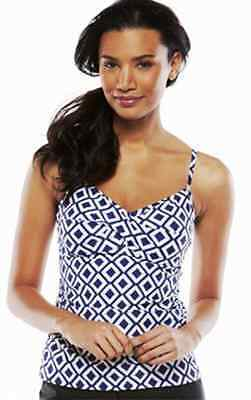 3510eb9219 CROFT & BARROW Fit For You Bust Enhancer Blue Tankini Top Sizes 6 or 8 NWT