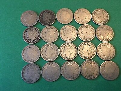 20 Liberty Head Nickels as listed (1883-1912) *FREE SHIPPING*
