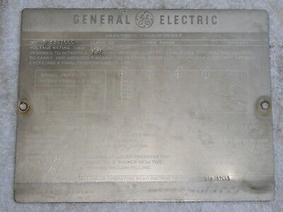 GENERAL ELECTRIC Transformer Nameplate, Great condition, ULTRA RARE