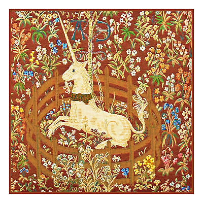 Medieval Unicorn Captivity Red Background Counted Cross Stitch Pattern