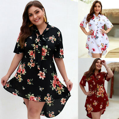 Popular Beach Sundress Ladies Half Sleeve Floral Boho Tie  Long Shirt Dress