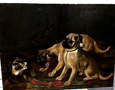 Antique 19Th Century Oil On Canvas  -   'pug Dogs In The Barn'