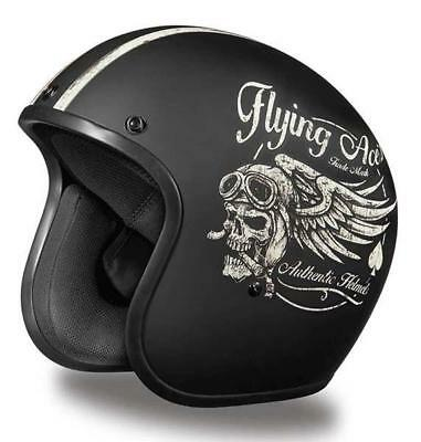 Daytona Low Profile Helmet Flying Skull Custom Open Face Bobber Chopper Biker