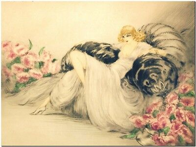 Louis Icart - Woman and Peonies - Canvas Print Poster 8X12""