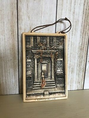 "Antique/Vintage Early 1900s English Ivorex Wall Plaque ""A Colonial Doorway"""