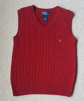 Boys Ralph Lauren Burgundy Deep Red Sweater Vest Size 6