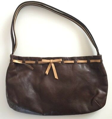Authentic Miu Miu by Prada Brown and tan leather Shoulder Handbag woven  ribbon e755928cc7280