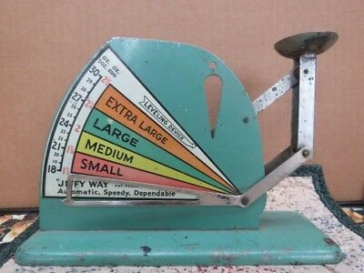 Vintage Jiffy Way Metal Poultry Egg Weighing Scale .