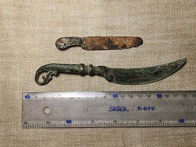Medieval bronze knives around the 15th century AD