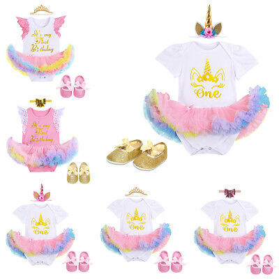 3PCS Baby Girls Unicorn My 1st Birthday Romper Tutu Dress Party Outfits Costume