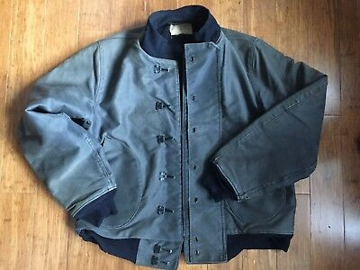 Great Size 40 1940s USN US Navy Hook front Deck Jacket Faded Stencil WWII