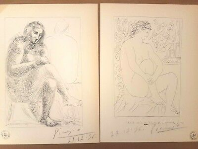 Pablo Picasso two lithograph prints 1956 Vollard Suite hand signed
