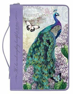 Peacock Bible Cover, X-Large