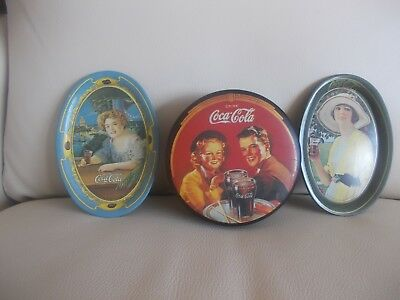 Coca Cola VINTAGE TIN LOT: Two Small Oval TRAYS, Round Lidded BOX, Great Artwork