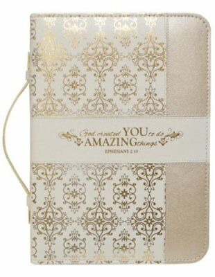 Ephesians 2:10, Bible Cover, Cream and Gold, Large
