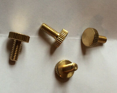 New Solid Brass Thumb Screws - Straight Knurled - 8/32 Thread - 4 Pieces