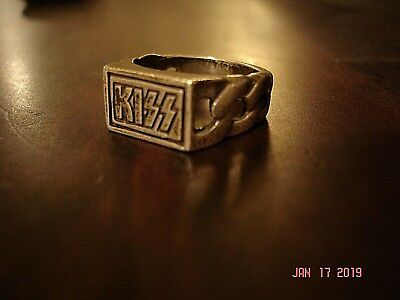 """KISS  """" METAL/BRASS RING""""  Official KISS Catalog Items Size 9-10"""