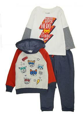 Little Rebels Toddler Boys Hero In Training Three-Piece Jogger Set Size 2T 3T 4T