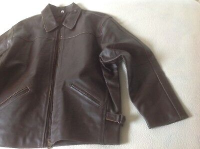 Vintage Rare Brown 100% Genuin Leather Flying Jacket Heavy Duty New From 🇩🇪 L