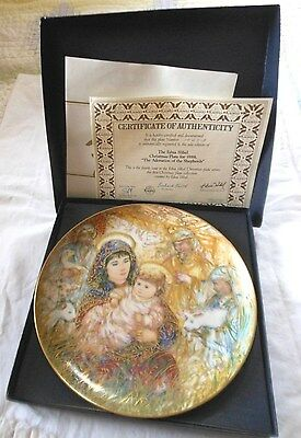 "EDNA HIBEL Christmas Plate ADORATION OF SHEPHERDS 1988 10 1/2"" Round"
