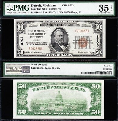 Awesome SCARCE Bold Choice VF++ 1929 $50 DETROIT, MI National Note! PMG 35 EPQ!