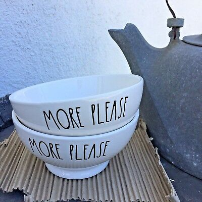 RAE DUNN By Magenta MORE PLEASE Bowls Set Of 2 *New* cereal, soup, ice cream