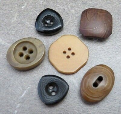 6 Mixed Antique Vintage Odd Shaped Vegetable Ivory Buttons Lot