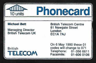 Btv020 Visiting Card Michael Bett Mint Bt Phonecard
