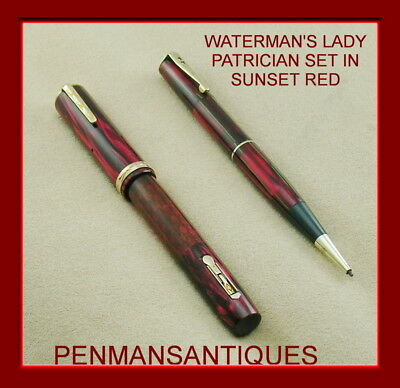 Circa 1930 Waterman's Lady Patrician Fountain Pen And Pencil In Sunset Red