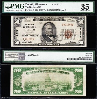 Awesome *SCARCE* Bold Choice VF++ 1929 $50 DULUTH, MN National Note! PMG 35!