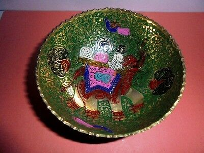 Vintage Solid Brass Decorative Bowl Handpainted Bowl Home Decor Gift Christmas