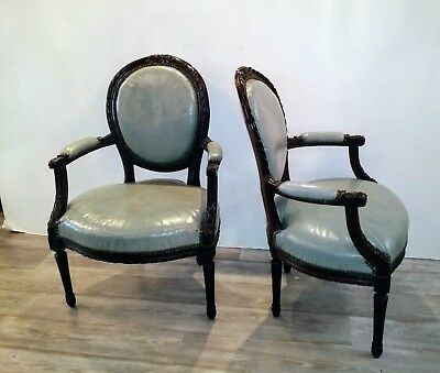 Pair Antique French Arm Chairs in Later Blue Leather
