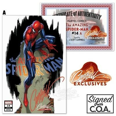 Amazing Spider-Man #14 J Scott Campbell Signed Official Coa Sold Out No Reserve