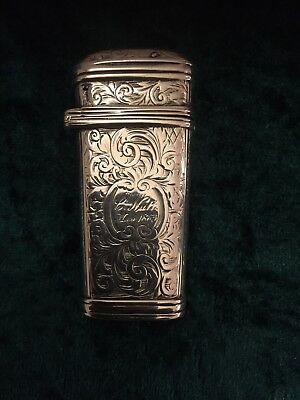 Victorian Silver Etui Engraved With Scrollwork Inscribed 'G Nutt 1863'