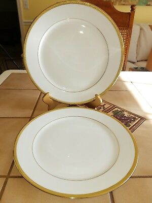 """Two excellent 2002 Charter Club GRAND BUFFET GOLD Dinner Plates 5880420 11 3/8""""w"""