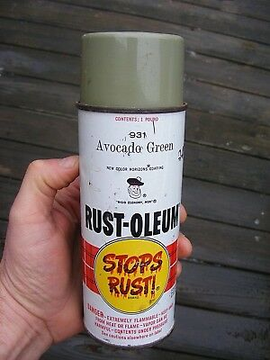 Rare Vintage 1968 Rust Oleum Spray Paint Can #931 Avocado Green - 1 Pound Scotty