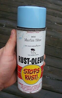 Rare Vintage 1967 Rust Oleum Spray Paint Can #866 Marlin Blue  - 1 Pound Scotty