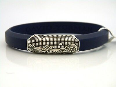 David Yurman Mens 12 8mm Waves Id Bracelet Blue Rubber Sterling Silver Nwt