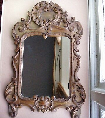 Old Antique Carved Wooden French Boudoir Wall Mirror c.1870 Rococo Scrolls Frame