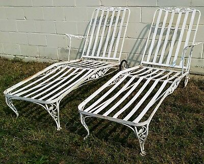 2 Mid Century Russell Woodard Wrought Iron Chaise Lounge Chairs