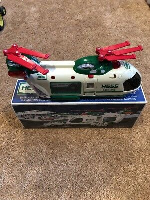 2001 Hess Toy Truck Helicopter With Motorcycle And Cruiser In Original Box And