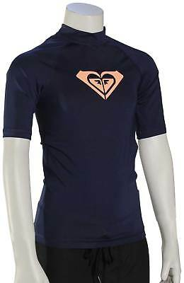 Roxy Girl's Whole Hearted SS Rash Guard - Medieval Blue - New