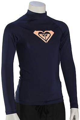 Roxy Girl's Whole Hearted LS Rash Guard - Medieval Blue - New