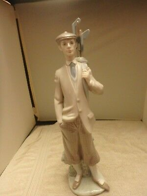 Lladro Figure Male Golfer With Clubs