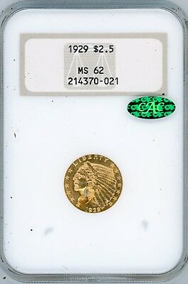 1929 $2 1/2 Indian Gold Ngc Ms62 Cac Old Holder