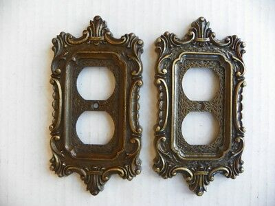 Vintage National 1970's Duplex Outlet Recptacle Plate Cover Antique Gold