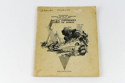Battle Experiences Against Japanese 1945 WWII Official Restricted Army Document