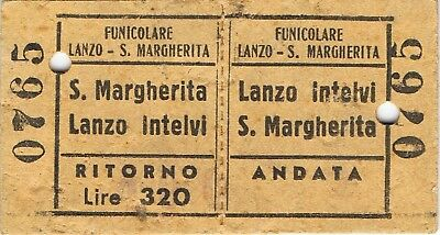 Railway tickets Italy Lanzo Intelvi funiculaire used return 1962